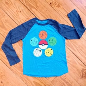 Pokemon Raglan Long Sleeve Shirt Boys Size Medium